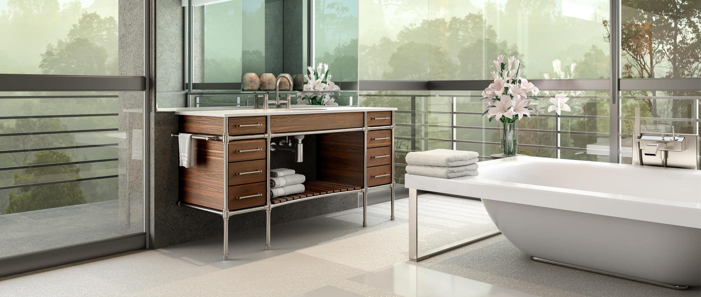 Studio style custom sink legs with integral wood casework vanity