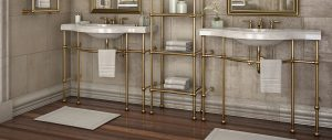 Renaissance style brass metal console sink legs with matching etagere shelving