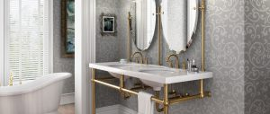 Bun Foot style brass sink legs with custom mirrors