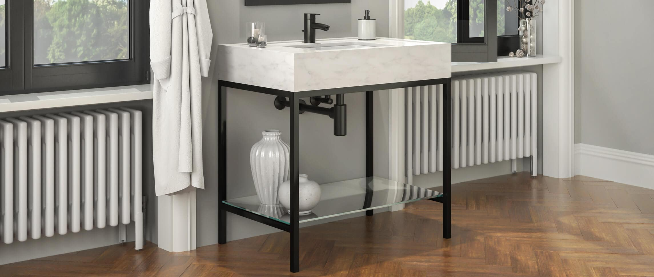 Palmer Industries Linear style metal washstand vanity finished in matte black powder coat
