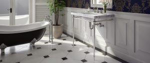 Kingston style vanity sink legs in elegant bathroom