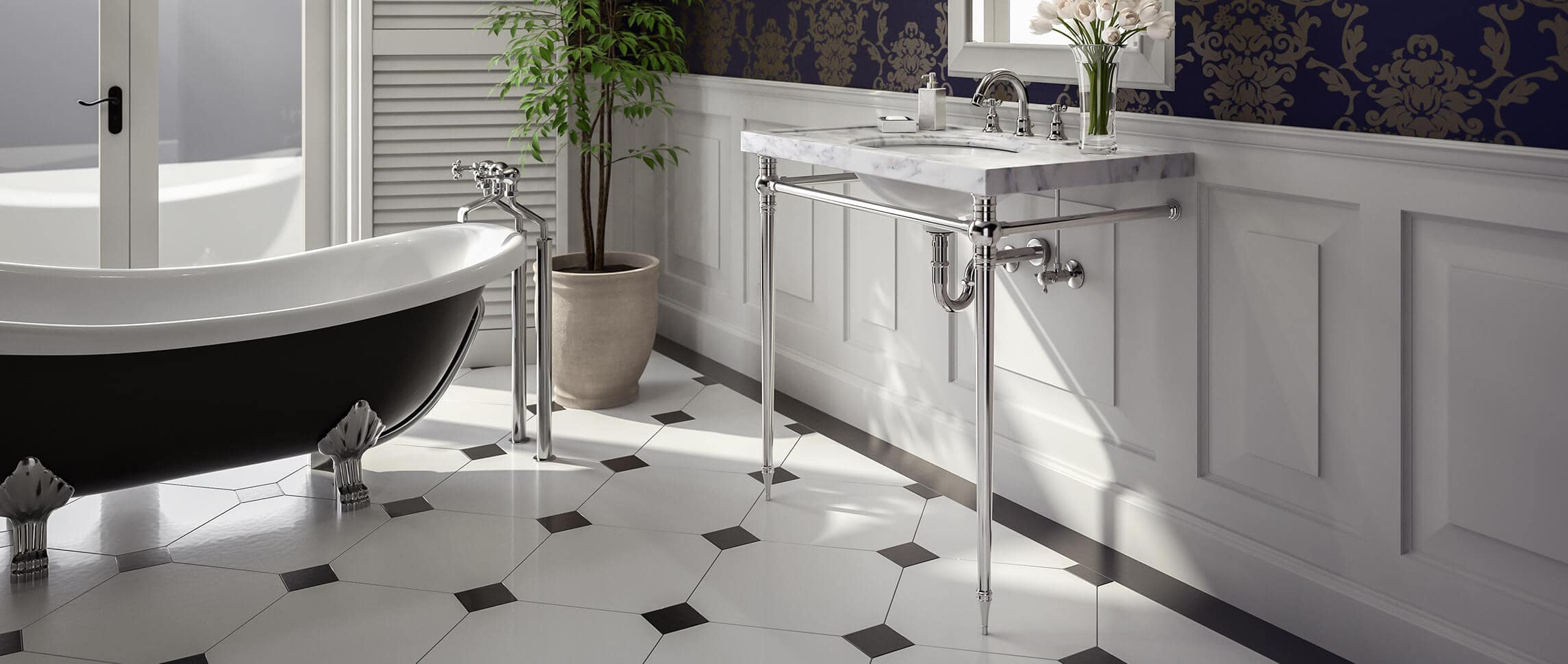 Kingston style vanity sink legs in elegant bathroom