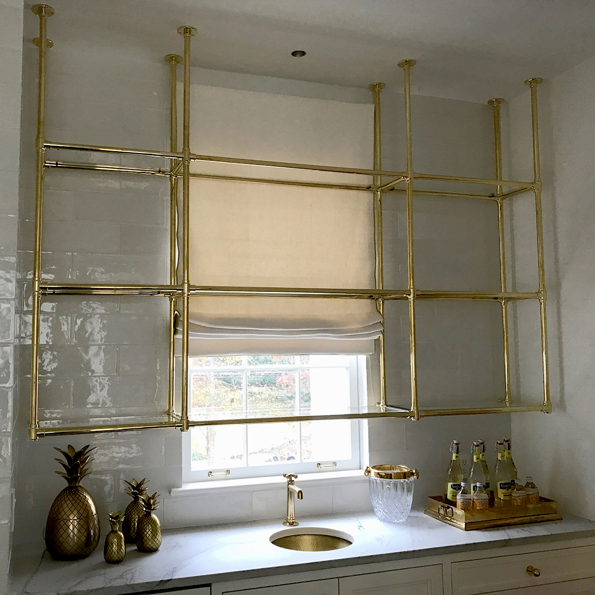 Custom brass and glass kitchen shelving- Karpaty Cabinets ...